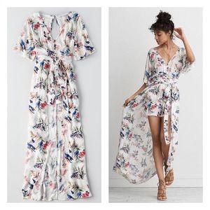 American Eagle Floral Kimono Maxi Romper